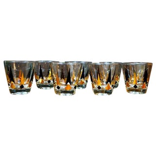 Vintage Lowball Black and Gold Glasses - Set of 8