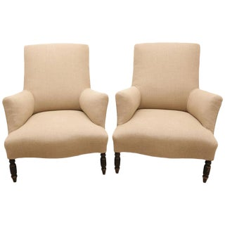 Pair of Napoleon III Upholstered Lounge Chairs in a Tan Linen Fabric