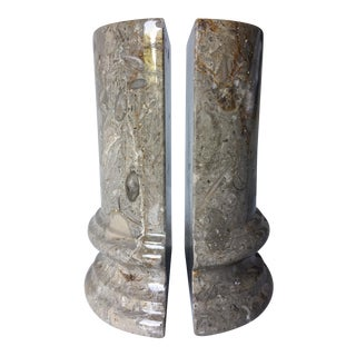 Beige Marble Column Bookends - A Pair