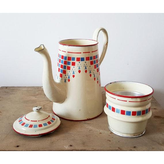 Image of 1960s French Vintage Enamelware Coffee Pot