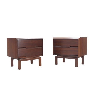 Pair of Danish Mid Century Modern Walnut End Tables Two Drawer Stands