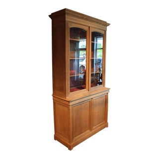 Natural Oak & Glass Bookcase