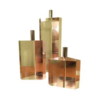 Mid-Century Geometric Lucite Candles - Set of 3