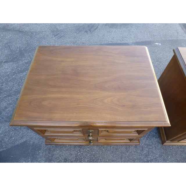 Mid Century Modern Drexel Two Drawer Solid Wood Nightstands - a Pair - Image 9 of 11