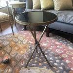 Image of Metal Faux Bamboo W/ Granite Top Table