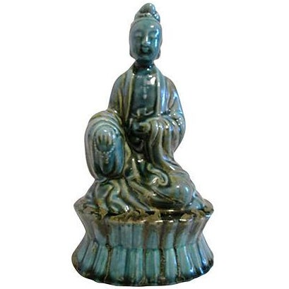 Image of Mid-Century Turquoise Drip Glaze Goddess