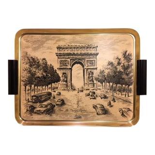 Vintage Parisian Street Scene Serving Tray