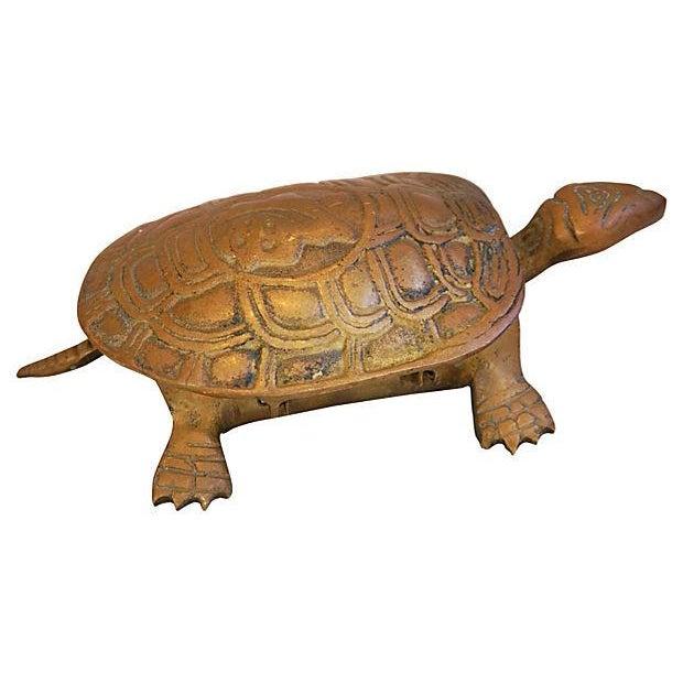 Mid-Century Brass Turtle Keepsake Trinket Box - Image 1 of 6