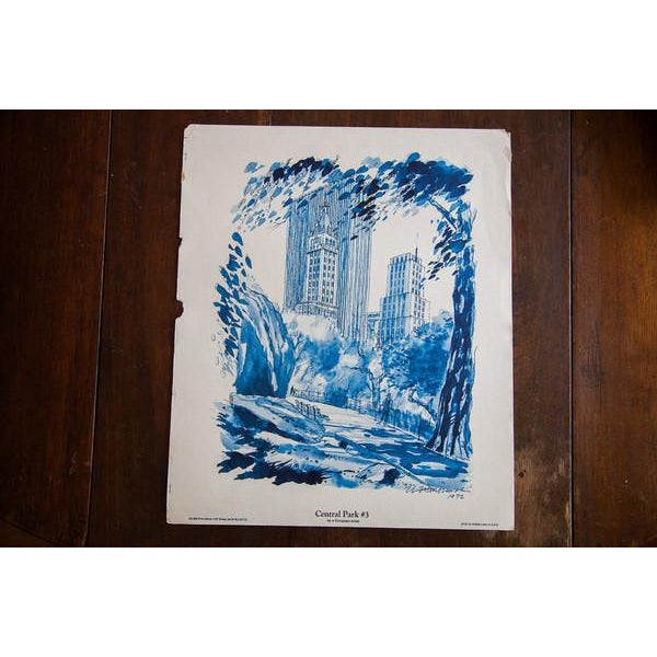 Blue Minimalistic Central Park NYC Lithograph 3 - Image 2 of 6