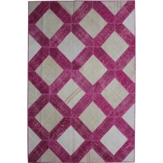 """Aara Rugs Inc. Hand Knotted Patchwork Rug - 10'3"""" X 7'2"""""""