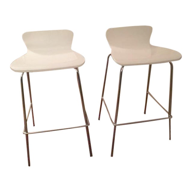 Crate & Barrel White & Chrome Bar Stools - A Pair - Image 1 of 7