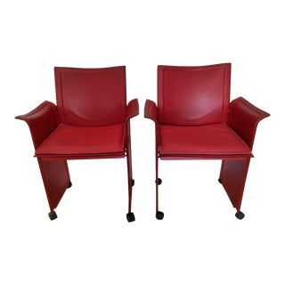 Matteo Grassi Red Leather Armchairs - A Pair