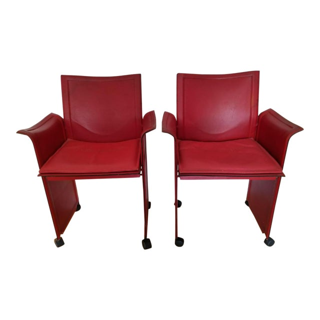 Image of Matteo Grassi Red Leather Armchairs - A Pair