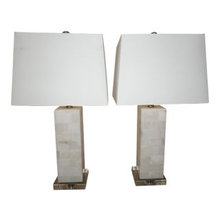 Modern Marble & Lucite Table Lamps- a Pair
