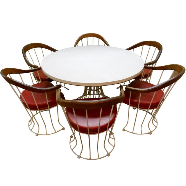 Mid-Century Modern Iron Based Dining Set - Image 1 of 10