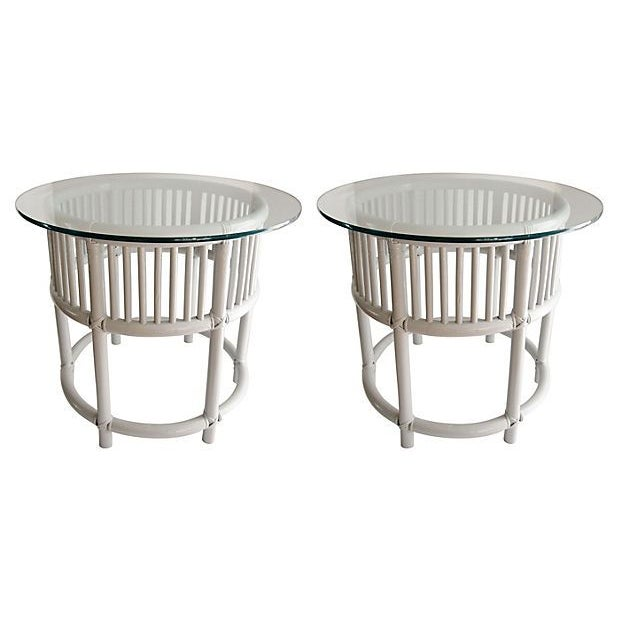 Gray Painted Rattan Side Tables - A Pair - Image 1 of 5