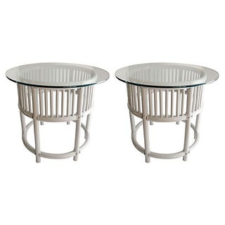 Gray Painted Rattan Side Tables - A Pair