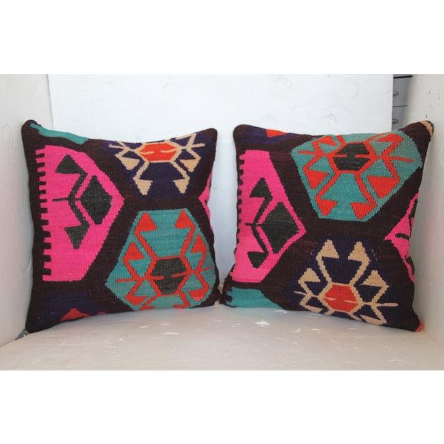 Neon Turkish Kilim Cushions - Pair - Image 3 of 7