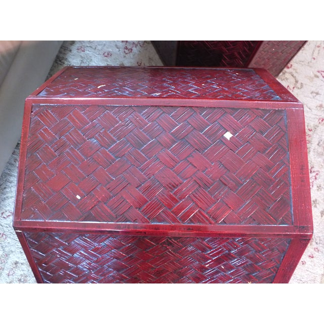 """Antique 16"""" Tall Chinese Red Storage Stools - Image 10 of 11"""