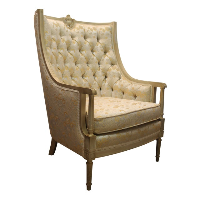 Vintage Tufted Back Louis XV French Bergere Chair - Image 1 of 11