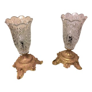 Crystal Torchiere Boudoir Lamps- A Pair