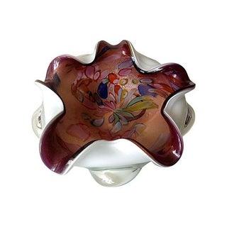 Italian Murano Ruffled Confetti Bowl