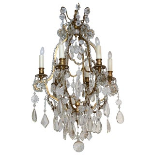 Late 19th Century Gilded Brass Six-light Chandelier