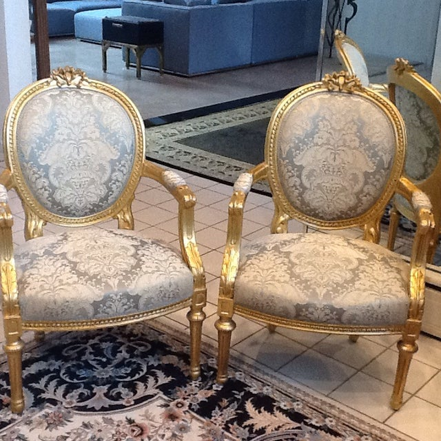 Gold Leaf Neoclassical Chairs - A Pair - Image 3 of 5