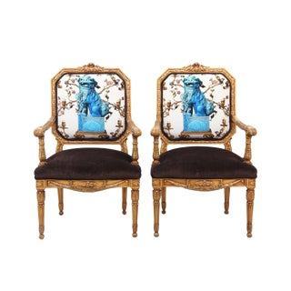 Louis XVI Style Giltwood Chien Armchairs - a Pair