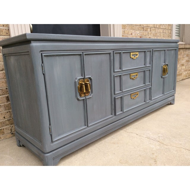 Vintage Thomasville Grey Distressed Asian Credenza - Image 3 of 8