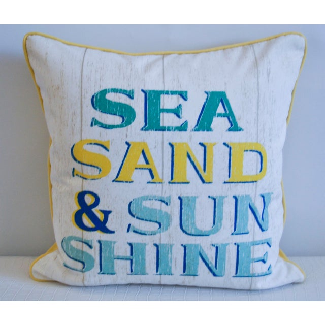 Yellow & White Indoor/Outdoor Decorative Beach Pillow - Image 2 of 3