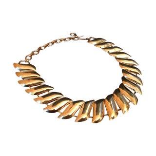 Vintage Gold Wave Link Choker Necklace