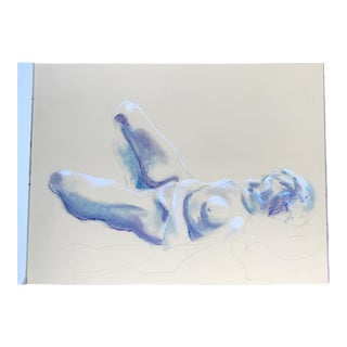 Nude Blue & White Drawing