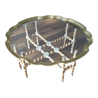 Barley Twist Brass Scalloped Table