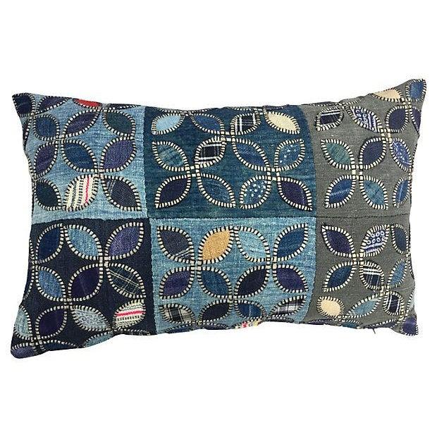 Tribal Indigo Patchwork Quilt Pillow - Image 1 of 5