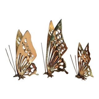 Vintage Brass Butterfly Figurines - Set of 3