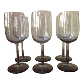 Mid-Century Smoked Glass Wine Glasses - Set of 11