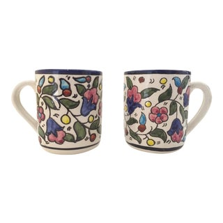 Vintage Jerusalem Pottery Armenian Floral Ceramic Hand Painted Mugs - a Pair