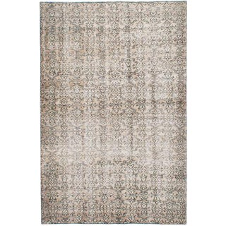 Tan Wool Pile Turkish Rug - 5′1″ × 7′10″