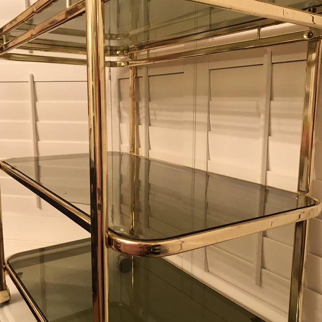 Mid-Century Brass & Smoke Glass Bar Cart - Image 6 of 10