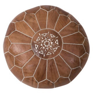 Embroidered Tan Leather Pouf