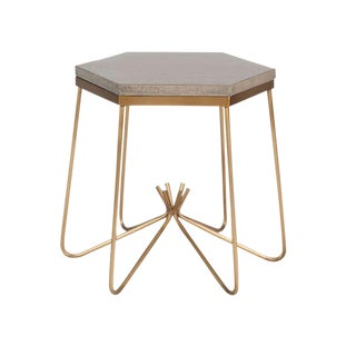 Richer Burlap Top Side Table