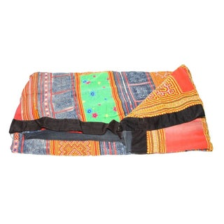 Orange, Blue & Multi Hue Stripe Hmong Blanket