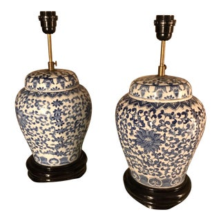 Vintage Blue and White Ginger Jar Lamps - a Pair