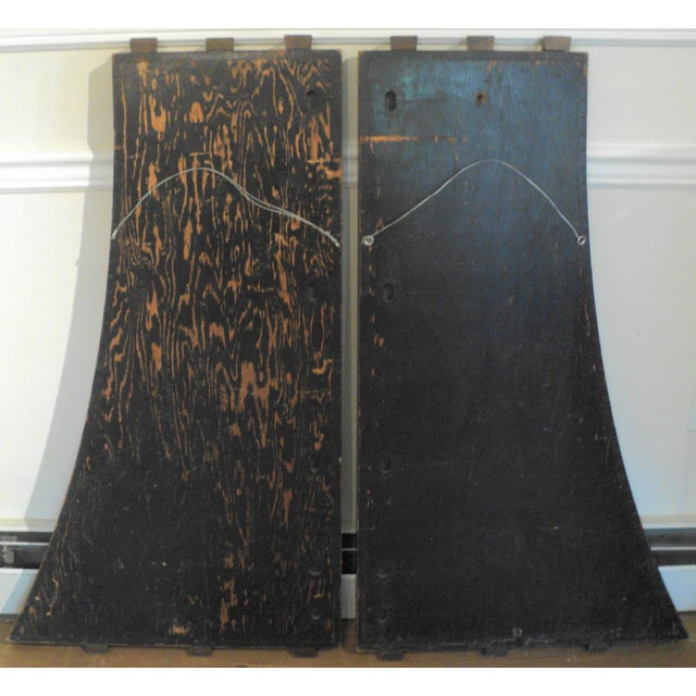 Image of Antique Vintage Industrial Wood Factory Mold Mirrors - A Pair