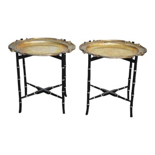 English Silver-Plate Tray Tables on Faux Bamboo Stands - a Pair