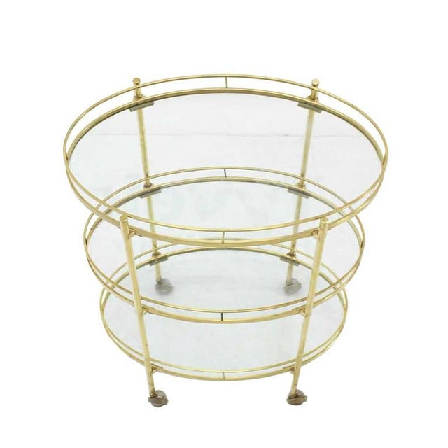 Three-Tier Brass Oval Tea Serving Cart - Image 2 of 8