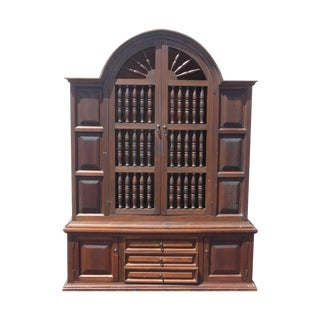Spanish Revival Wood Library Hutch Bookcase