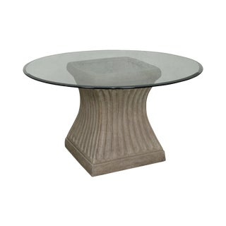 "Round Glass Top Faux Concrete Base 54"" Dining Table"