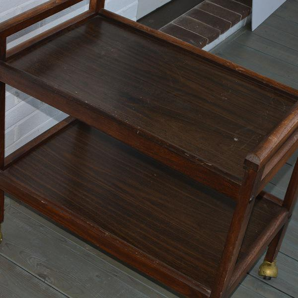 Walnut Two-Tiered Bar Cart - Image 9 of 11